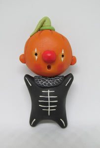 Halloween folk art style Pumpkin with black skelly suit WALL DECOR 3.5 inches