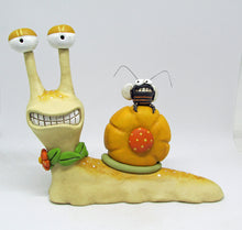 Snail character and bee friend