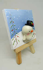 Christmas clay snowman with holiday tree painting