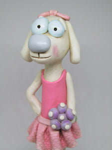 Folk art style Dog wearing a tutu