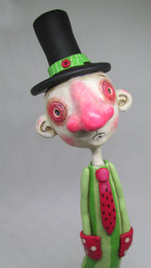 "Art character ""Watermelon"" red nose and top hat"