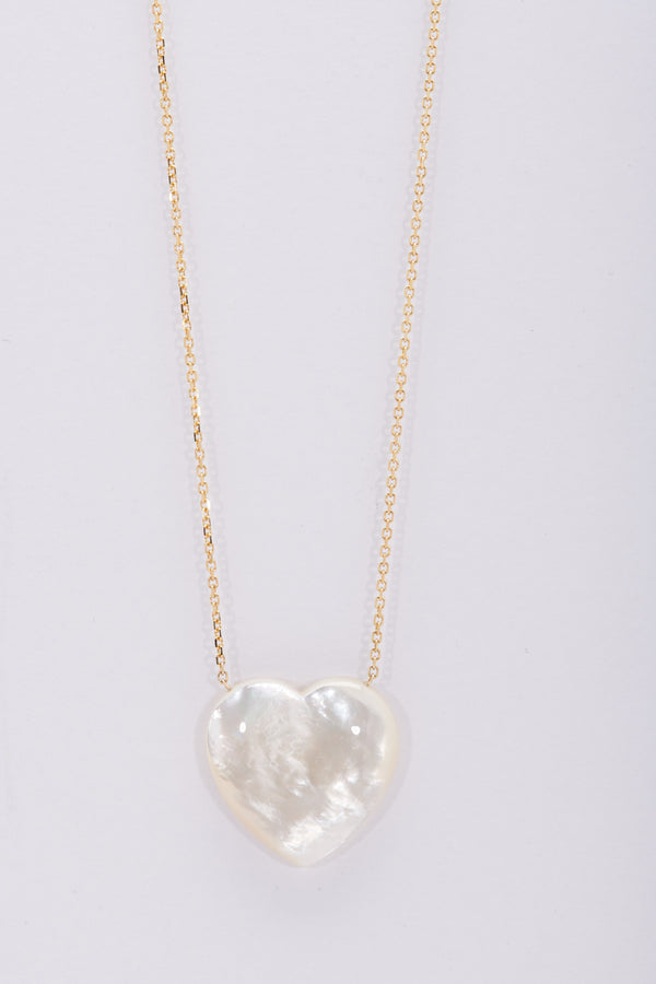 "Large Mother of Pearl Heart on 15"" 14K chain"