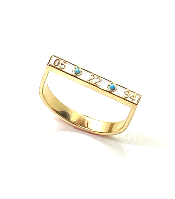 CUSTOM Stirrup ring in white enamel and turquoise!
