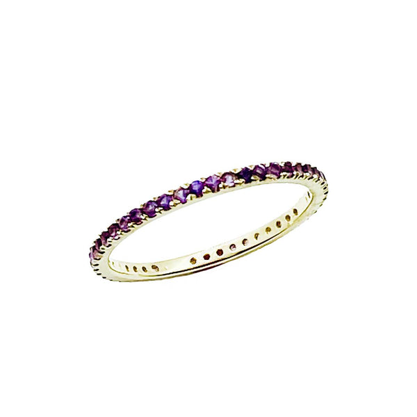 Amethyst pave stacking band