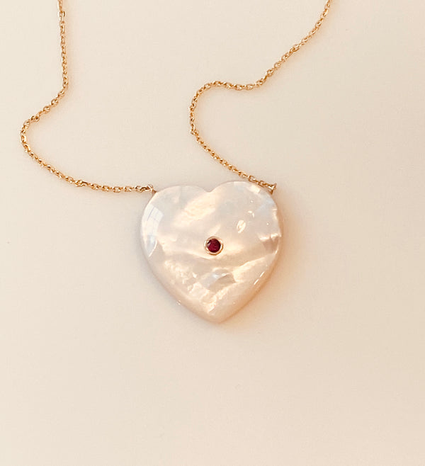 Mother of Pearl Heart with Ruby