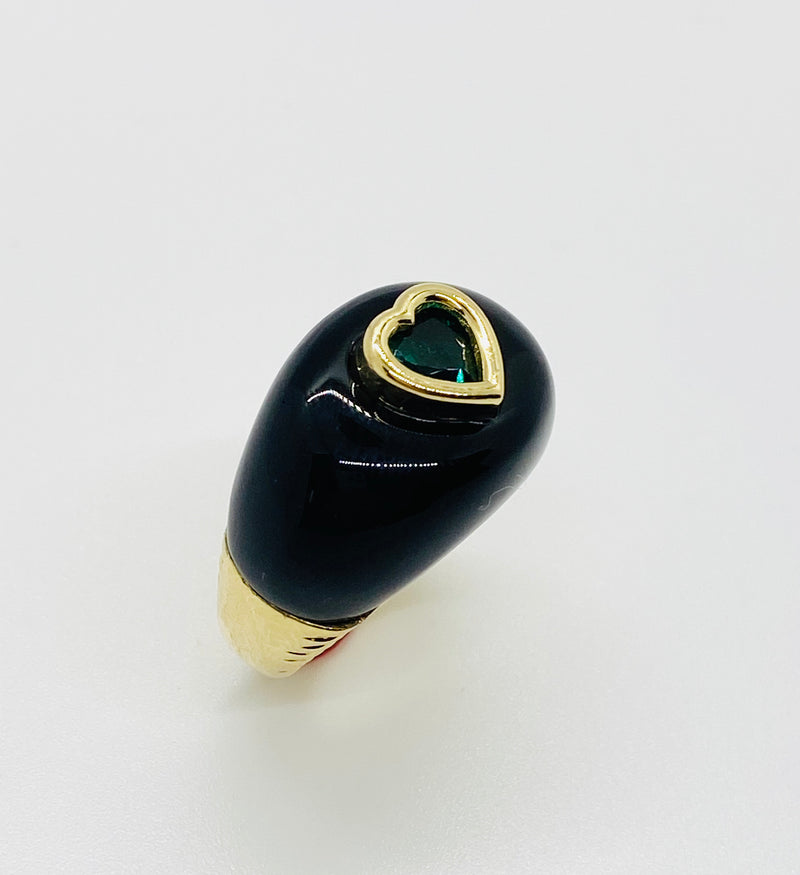 Sweetheart Ring in Black Onyx and Synthetic Emerald