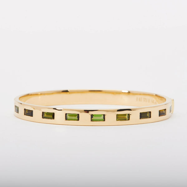 18K Bangle with Green Tourmaline