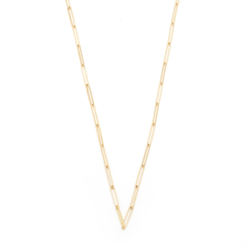 "Paperclip 32"" chain in 18k Gold."