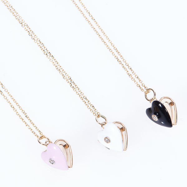 "Tiny Enamel Hearts with Diamond on 15"" 14 Karat Gold Chain"