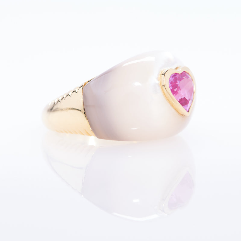Sweetheart Ring in Mother of Pearl and Pink Topaz