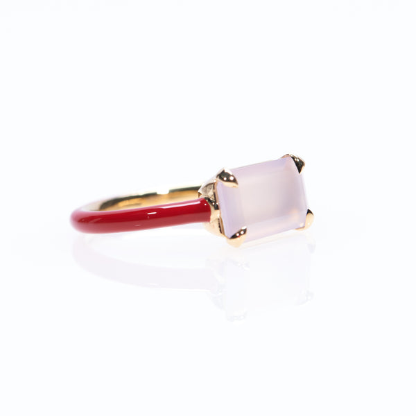Rose Quartz / Heritage Red Small Stone Ring