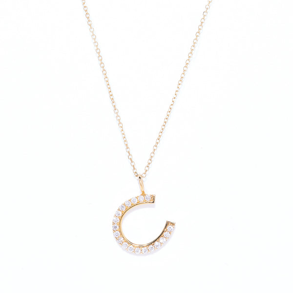 "Small Horseshoe with 15"" 14 Karat Gold Chain"