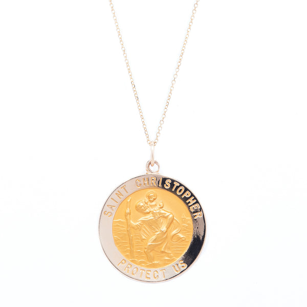 "St. Christopher Charm on 15"" 14 Karat Gold Chain"