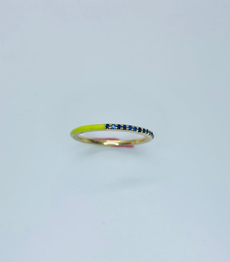 Thin Pave and enamel stacking band.