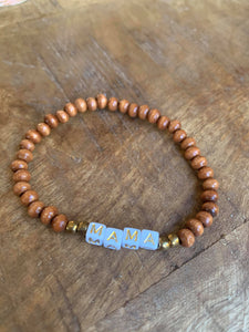 CAMEL WOOD BEADS WITH GOLD SQUARE LETTERS