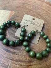 Olive Green Round Wood Bead Hoops