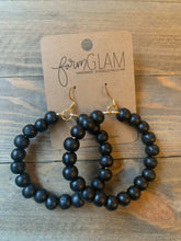 Black Round Wood Bead Hoops