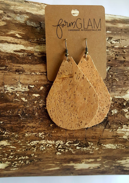 NATURAL CORK TEAR DROP EARRINGS
