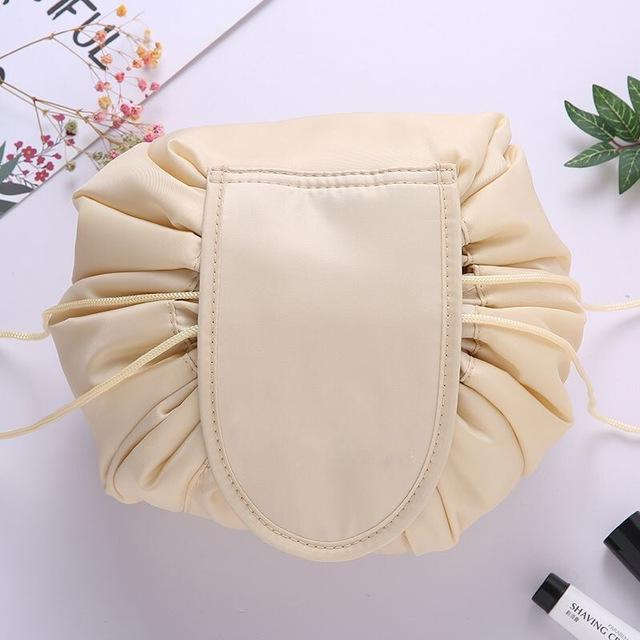 The Stylopedia Accessories Cream Quick Drawstring Cosmetic Bag