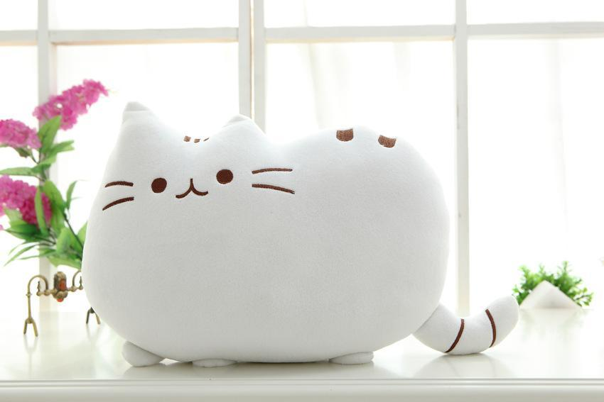 The Stylopedia Cat Toys White Cute Cat Pillow Plush : 50% Off Today!!!