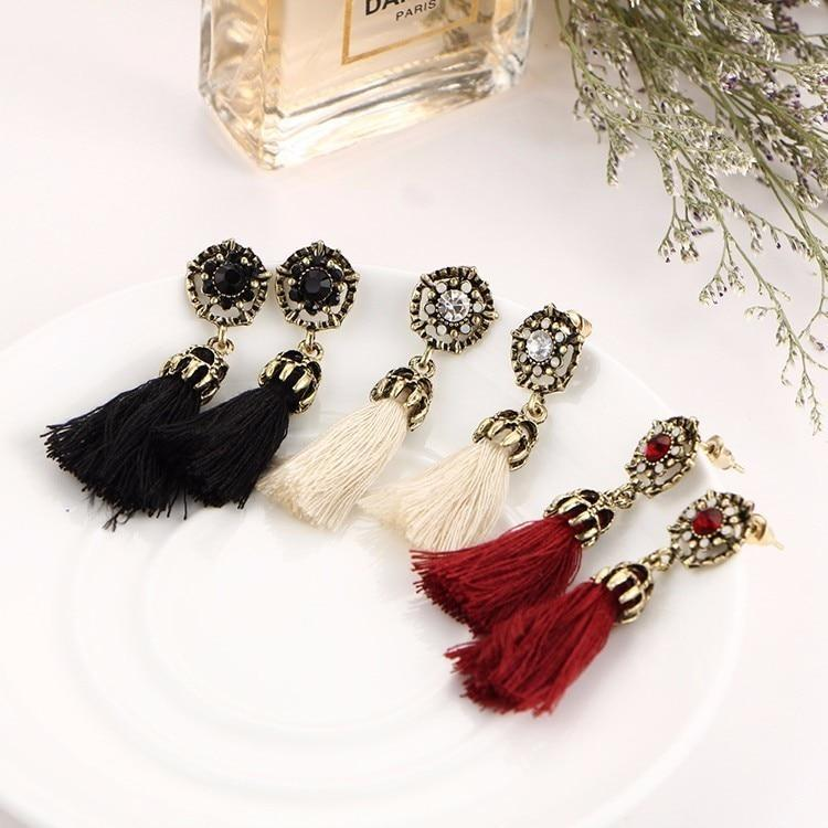 The Stylopedia earrings All 4 Bohemian Crystal (60% Off) Vintage Tiny Tassel Earrings