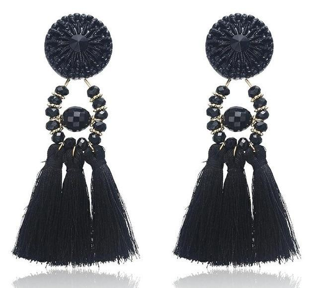 The Stylopedia earrings Black 1 Cute Bohemian Crystal Tassels