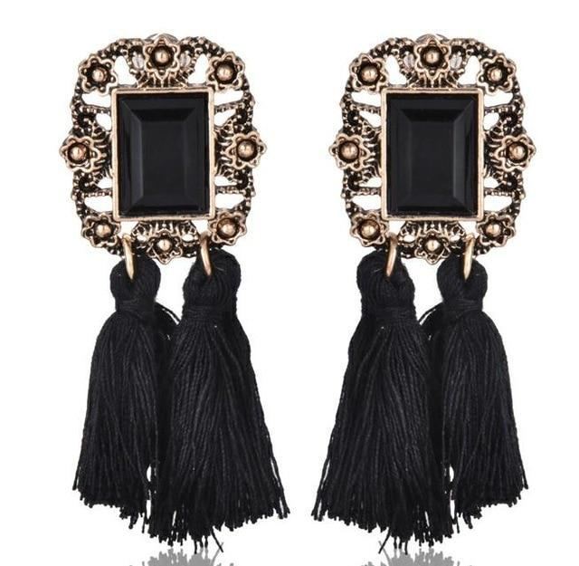 The Stylopedia earrings Black 3 Cute Bohemian Crystal Tassels