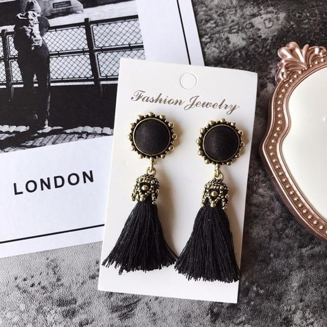 The Stylopedia earrings Black Vintage Tiny Tassel Earrings