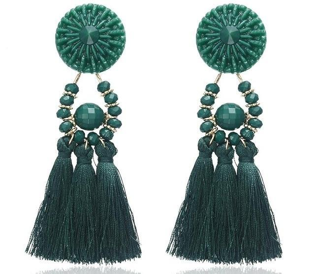 The Stylopedia earrings Green 1 Cute Bohemian Crystal Tassels