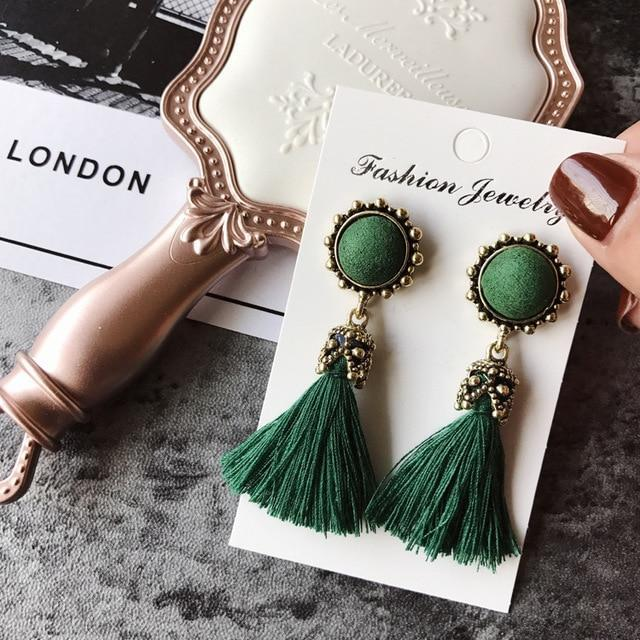 The Stylopedia earrings Green Vintage Tiny Tassel Earrings