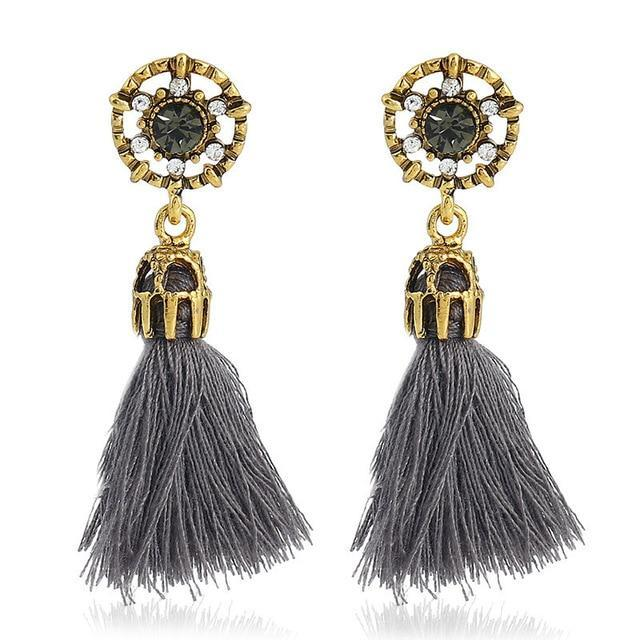 The Stylopedia earrings Grey Crystal Vintage Tiny Tassel Earrings