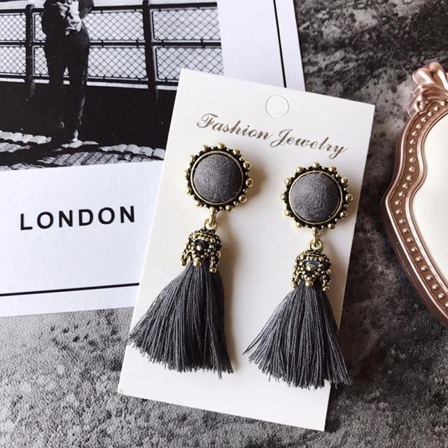 The Stylopedia earrings Grey Vintage Tiny Tassel Earrings