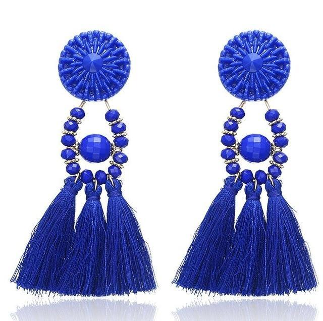 The Stylopedia earrings Navy Blue 1 Cute Bohemian Crystal Tassels