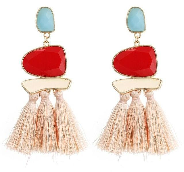 The Stylopedia earrings Pink Cute Bohemian Crystal Tassels
