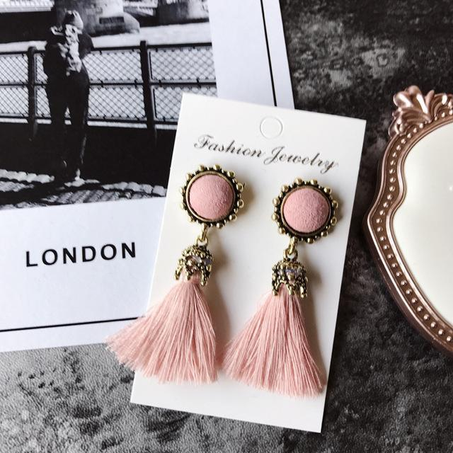 The Stylopedia earrings Pink Vintage Tiny Tassel Earrings