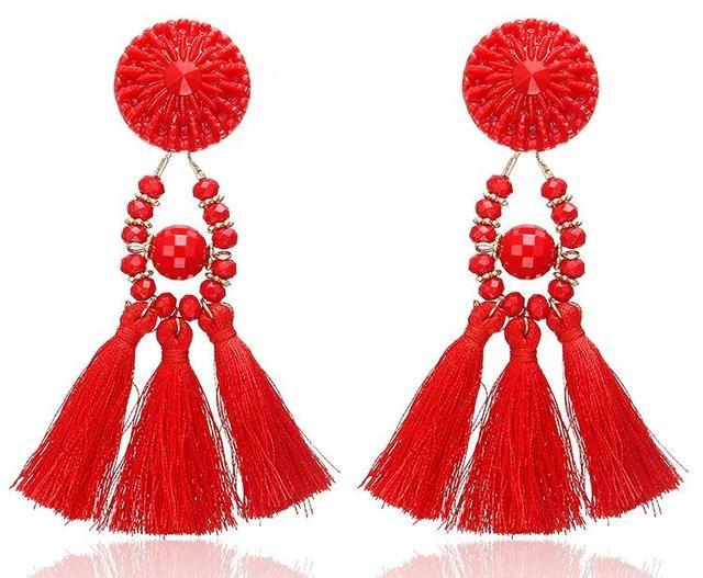 The Stylopedia earrings Red 1 Cute Bohemian Crystal Tassels