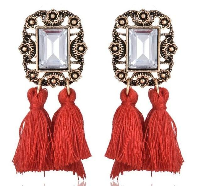 The Stylopedia earrings Red 3 Cute Bohemian Crystal Tassels