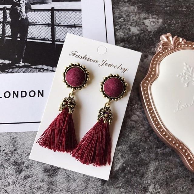 The Stylopedia earrings Red Vintage Tiny Tassel Earrings