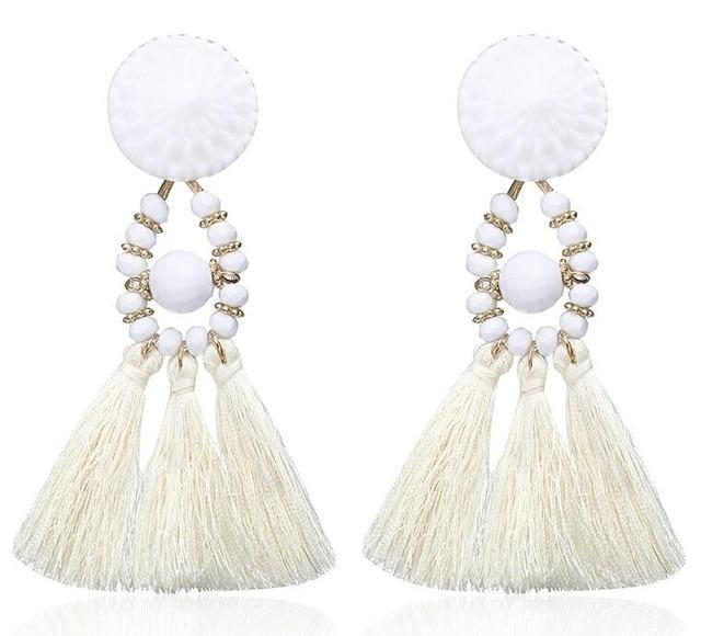 The Stylopedia earrings White 1 Cute Bohemian Crystal Tassels