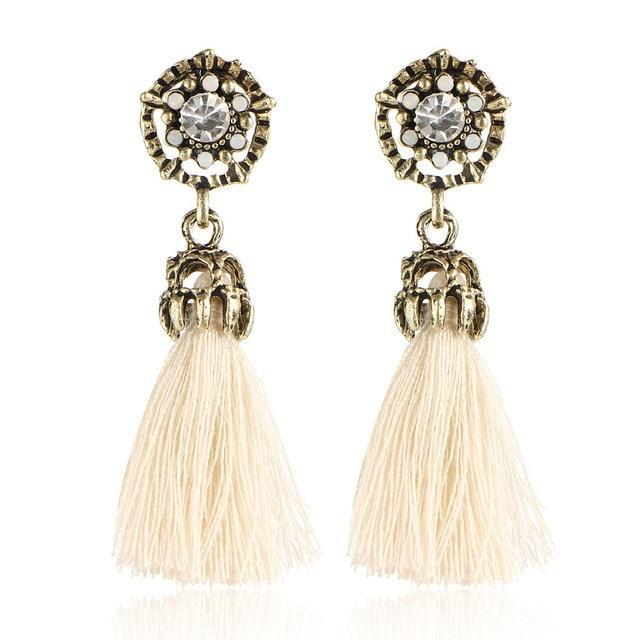 The Stylopedia earrings White Crystal Vintage Tiny Tassel Earrings