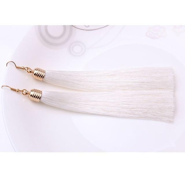 The Stylopedia earrings White Vintage Tassel Earrings