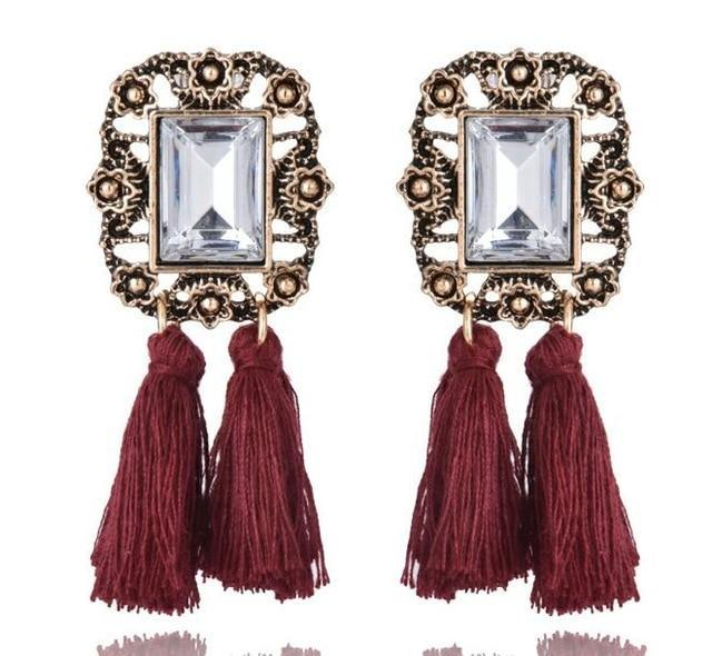 The Stylopedia earrings Wine Red Cute Bohemian Crystal Tassels