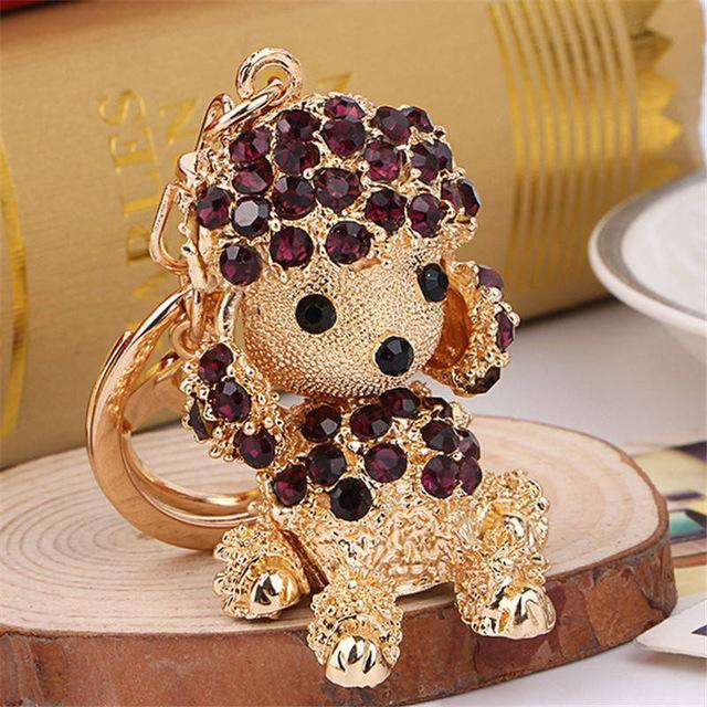 The Stylopedia keychains Black Cute Dog Crystal Rhinestone Keyrings
