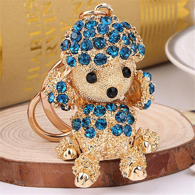 The Stylopedia keychains Blue Cute Dog Crystal Rhinestone Keyrings