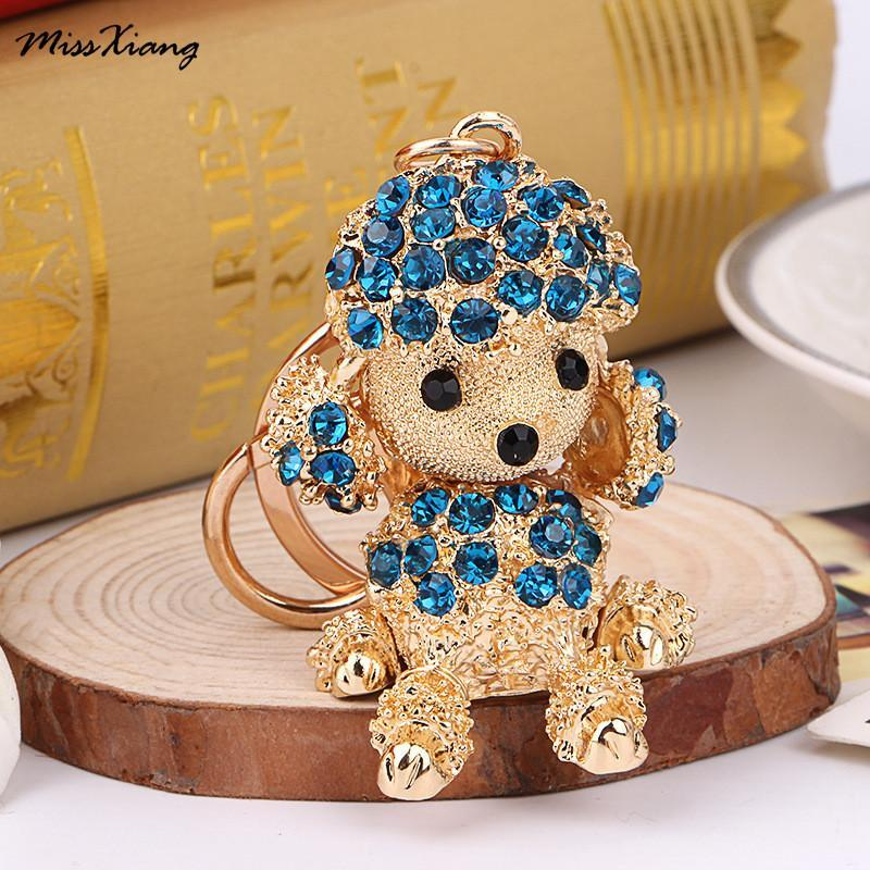 The Stylopedia keychains Cute Dog Crystal Rhinestone Keyrings