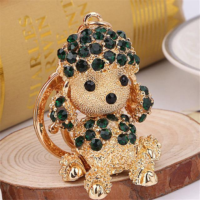 The Stylopedia keychains Green Cute Dog Crystal Rhinestone Keyrings