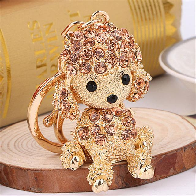 The Stylopedia keychains Peach Cute Dog Crystal Rhinestone Keyrings