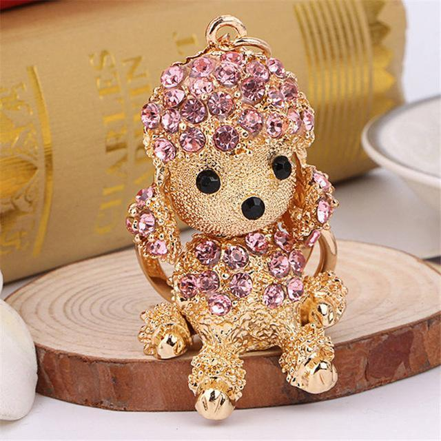 The Stylopedia keychains Pink Cute Dog Crystal Rhinestone Keyrings