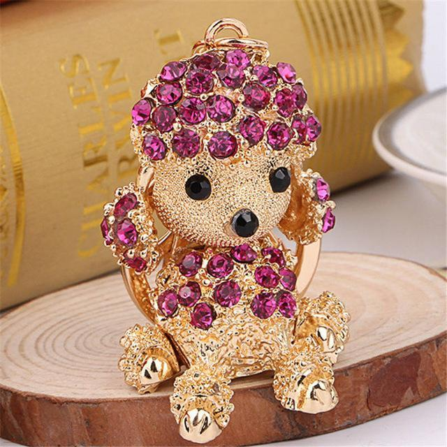 The Stylopedia keychains Purple Cute Dog Crystal Rhinestone Keyrings