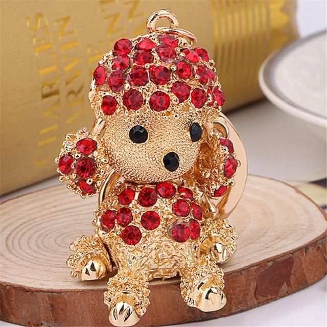 The Stylopedia keychains Red Cute Dog Crystal Rhinestone Keyrings